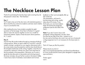 The Necklace Lesson Plan