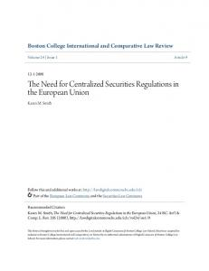 The Need for Centralized Securities Regulations in the European Union