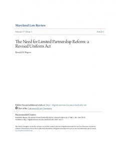 The Need for Limited Partnership Reform: a Revised Uniform Act
