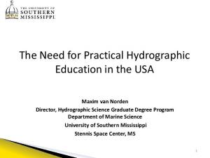 The Need for Practical Hydrographic Education in the USA