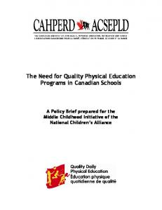 The Need for Quality Physical Education Programs in Canadian Schools
