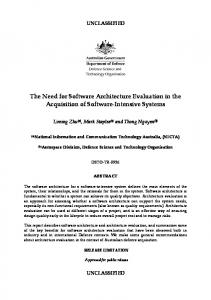The Need for Software Architecture Evaluation in the Acquisition of Software-Intensive Systems