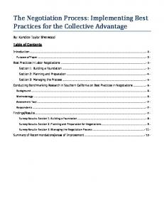 The Negotiation Process: Implementing Best Practices for the Collective Advantage