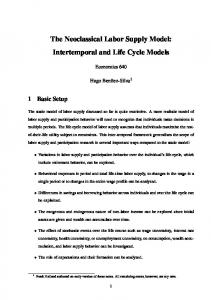 The Neoclassical Labor Supply Model: Intertemporal and Life Cycle Models