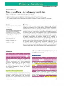 The neonatal lung physiology and ventilation