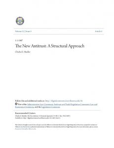 The New Antitrust: A Structural Approach