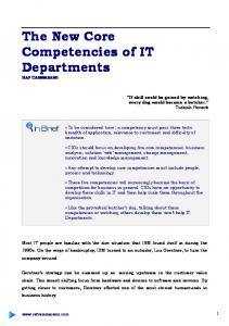 The New Core Competencies of IT Departments