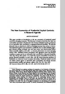 The New Economics of Prudential Capital Controls: A Research Agenda