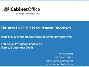 The new EU Public Procurement Directives
