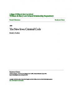 The New Iowa Criminal Code