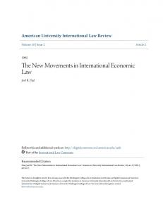 The New Movements in International Economic Law