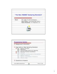 The New RESNET Sampling Standard