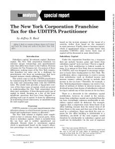 The New York Corporation Franchise Tax for the UDITPA Practitioner