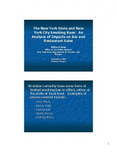The New York State and New York City Smoking Bans: An Analysis of Impacts on Bar and Restaurant Sales
