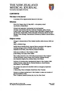 THE NEW ZEALAND MEDICAL JOURNAL