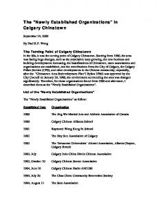 The Newly Established Organizations in Calgary Chinatown