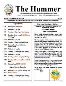 The Newsletter of the Hummingbird Stitchers Quilt Guild Website:
