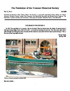 The Newsletter of the Tremont Historical Society