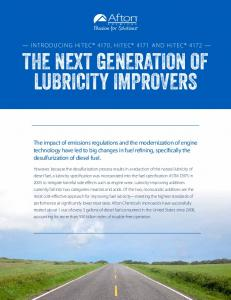THE NEXT GENERATION OF LUBRICITY IMPROVERS