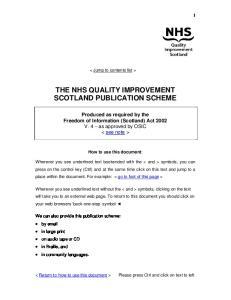 THE NHS QUALITY IMPROVEMENT SCOTLAND PUBLICATION SCHEME