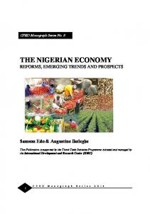 THE NIGERIAN ECONOMY REFORMS, EMERGING TRENDS AND PROSPECTS
