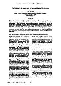 The Nonprofit Organizations in Regional Public Management