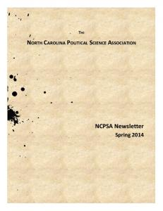 THE NORTH CAROLINA POLITICAL SCIENCE ASSOCIATION