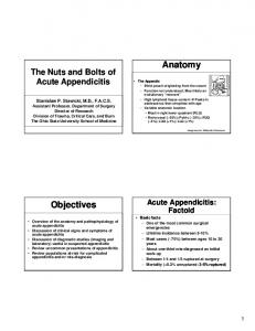 The Nuts and Bolts of Acute Appendicitis. Acute Appendicitis: