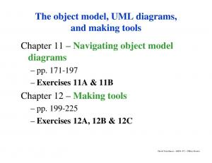 The object model, UML diagrams, and making tools Chapter 11 Navigating object model diagrams