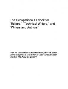 The Occupational Outlook for Editors, Technical Writers, and Writers and Authors