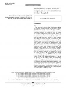 The ocurrence of foreign bodies in otorhinolaryngology