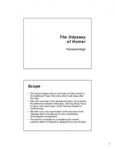 The Odyssey of Homer. Scope. Homecomings
