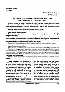 THE OFFENCE OF STALKING IN POLISH CRIMINAL LAW (ART 190A 1 OF THE CRIMINAL CODE)