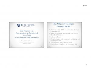 The Office of Hopkins Internal Audit