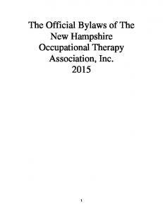 The Official Bylaws of The New Hampshire Occupational Therapy Association, Inc. 2015