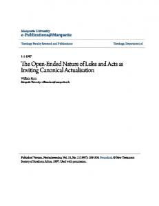 The Open-Ended Nature of Luke and Acts as Inviting Canonical Actualisation