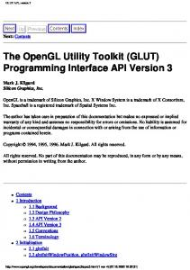 The OpenGL Utility Toolkit (GLUT) Programming Interface API Version 3