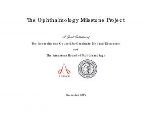 The Ophthalmology Milestone Project