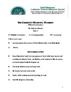 THE ORDER OF MORNING WORSHIP (Without Communion)