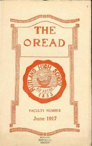 THE OREAD FACULTY NUMBER. June 1917 RUTLAND HISTORICAL SOCIETY