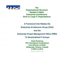 The Organizational Structure Needed to Make Enterprise Architecture Work in Large IT Organizations
