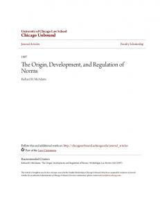 The Origin, Development, and Regulation of Norms