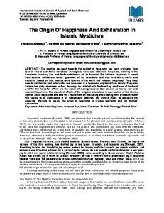 The Origin Of Happiness And Exhilaration In Islamic Mysticism