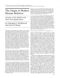 The Origin of Modern Human Behavior