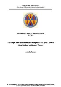 The Origin of the Sylos Postulate: Modigliani s and Sylos Labini s Contributions to Oligopoly Theory