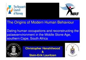 The Origins of Modern Human Behaviour
