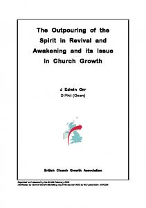 The Outpouring of the Spirit in Revival and Awakening and its Issue in Church Growth