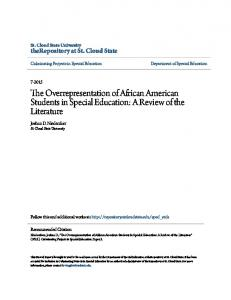 The Overrepresentation of African American Students in Special Education: A Review of the Literature