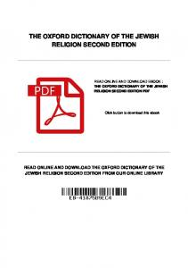 THE OXFORD DICTIONARY OF THE JEWISH RELIGION SECOND EDITION