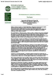The Papers. Intervencion Del Secretario General De La OEA, Dr. Cesar Gaviria Trujillo, En La Conferencia Mundial Contra La Corrupcion